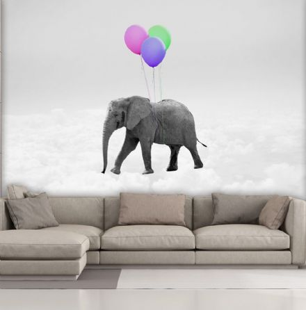 Elephant & Balloons wall mural wallpaper Premium